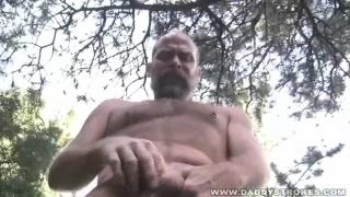 Hairy Man Jerking Outdoors