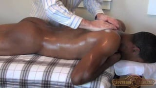 Hung Black Stud on Massage Table