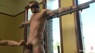 Muscle Hunk Landon Conrad Tied Up & Edged