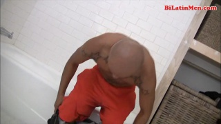 Bald Latino Busting a Nut