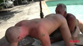 Older Barebacker Fucks Ass by Pool