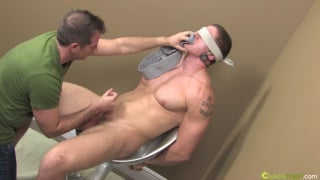 Blindfolded jock gets gay blowjob