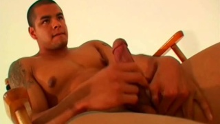 Beefy Latino Guy with Tattoos Jacking Off