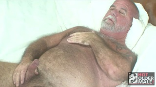 Older Daddy Cums on his Belly