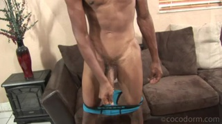Ripped Black Dude Strokes Long Dick