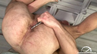 Bald Hairy Man Plays with his Ass