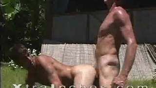 Hot studs fucking hard outdoors