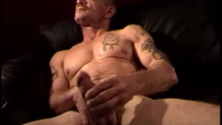 Inked Older Redneck Jacking Off