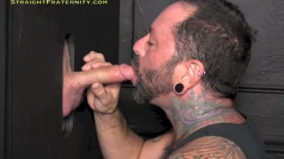 Sucking a Long Cock at Glory Hole