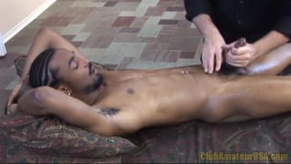 Black Stud Stroked on Massage Table
