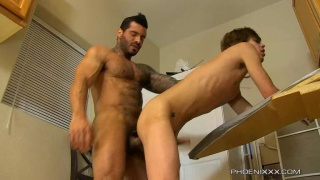 Hairy Muscle Man Screwing Twink in Laundry Room