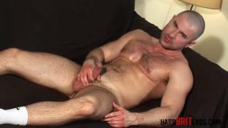 Bald Furry Muscle Stud Jacks Off