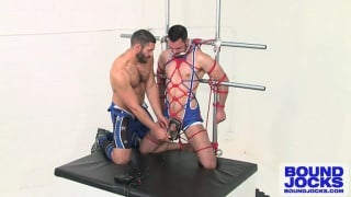 Bound Man's Cock Electrified
