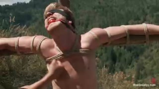 Muscle Stud Tied Up & Jacked Off Outdoors