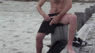 Furry Guy Stroking on the Beach