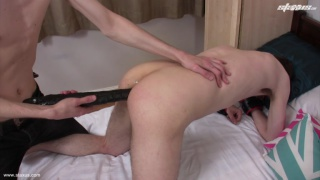 Stretches Twink's Hole with Huge Dildo