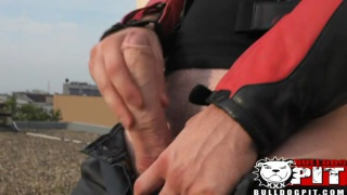 Biker Jacks Off on Roof Top