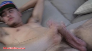 Str8 Latino with Thick Cock Jerks Off