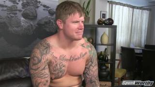 Beefy Inked Marine Jacked Off