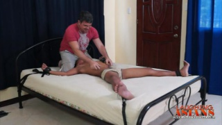 Asian Tied Spread Eagle and Tickled