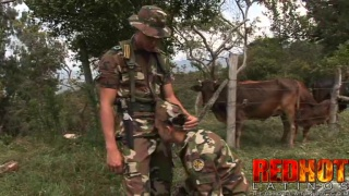 Uniformed Latino Soldier Caught Blowing a Guy