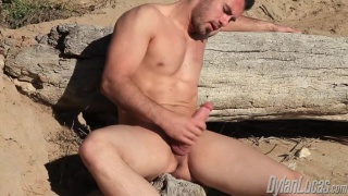 Handsome Muscle Stud Jacking on the Beach