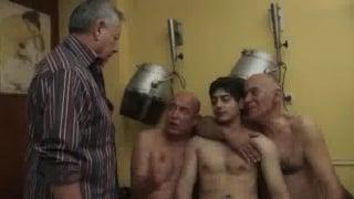 Older Man Barbershop Threeway