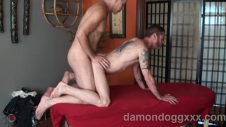 Damon Dogg Bareback Fucked on Massage Table