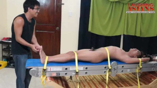 Asian Guy Tied Down and Tickled