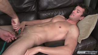 Gay Porn Newbie Gets his Dick Stroked