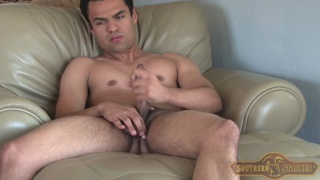 Latin Muscle Boy Alone with His Cock