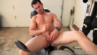 Handsome Hunk Jacking Dick on Motorcycle