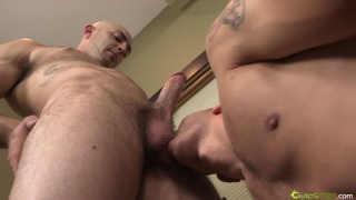Bald Furry Guy Fucks Younger Stud