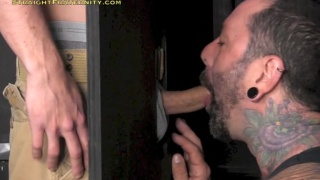 Girlfriend Doesn't Know He Got Glory Hole Blowjob