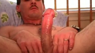 Moustached Man Jacking Cock
