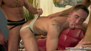 Jockstrap Spanish Guys in Threesome Sex