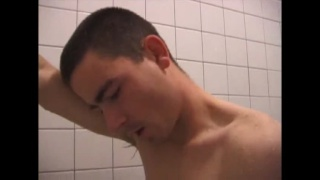 Soaping his Big Cock in the Shower