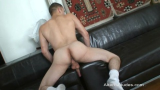 Wanking For Gay Jock Whille Alone On His Couch