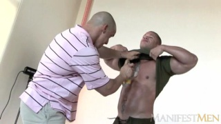Matthew Rush shows his big muscles