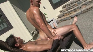 Poolside blowjob with hot amateur studs