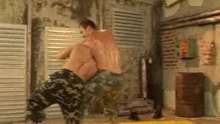 Military studs wrestle and fuck