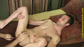 Straight-curious model plays with his knob
