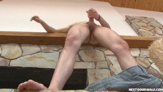 College dude jerks his rock hard boner