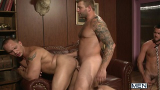 3 men pleasing their boss in orgy