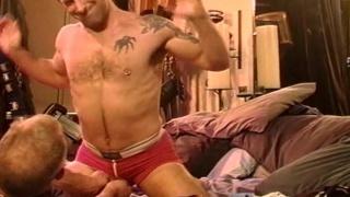 suqeezing guy's balls through underwear