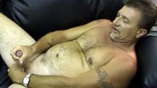 scruffy truck driver beating off