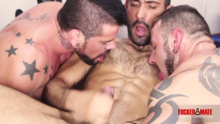 3 spanish hunks fuck in the gym
