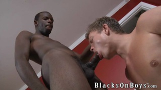 brotha tops a blond dude's hungry ass
