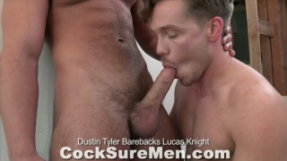 Dustin Tyler gives Lucas Knight a cum facial