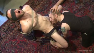 hairy straight guy's first guy-on-guy blowjob